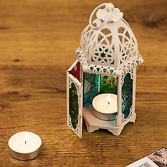 Moroccan Style Hollow Candle Holder- Votive Candle Holder Hanging Lantern  Wrought Iron Glass Lantern Candlestick
