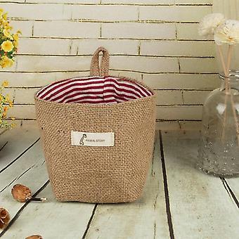 Small Storage Sack Stripe Dot Hanging Bag - Sundries Storage Basket, Flower