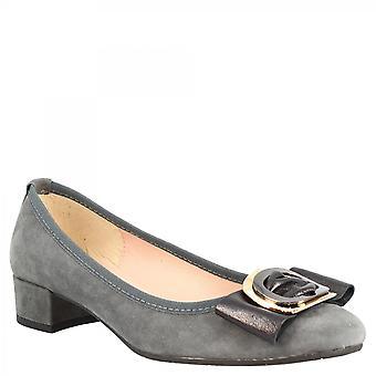Leonardo Sko Kvinner's håndlagde lave hæler pumper sko i grått semsket skinn med spenne