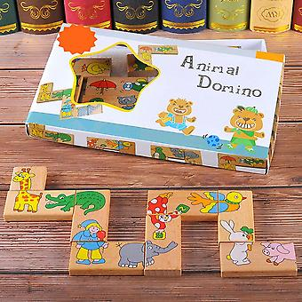 15pcs/set Wooden Animal Domino Puzzle For  Children -educational Toy