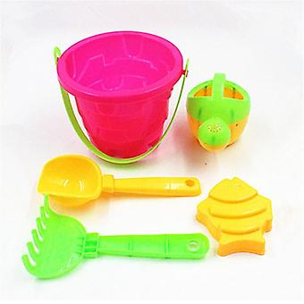 Slpf 5 Piece Set Castle Bucket Spade Shovel Rake Water Tool- Kids Summer Game