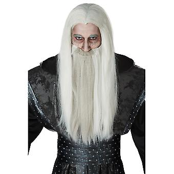 Dark Wizard Sorcerer Magician Medieval Grey Mens Costume Wig Moustache and Beard