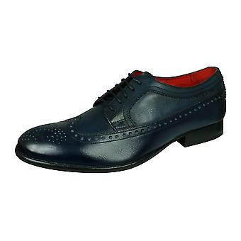 Base London Bailey mens graan lederen Brogue/schoenen-blauw