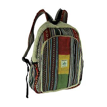 Boho Festival Stripe Rasta Blocks Pure Hemp Backpack