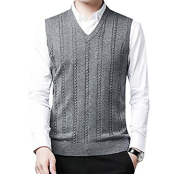 YANGFAN Mens V-Neck Striped Vest Solid Color Knitted Waistcoat Tops