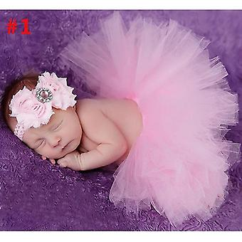 Baby Tutu Skirt And Headband Set - Newborn Gown Infant Photography Props