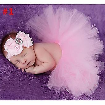 Baby Tutu Rock und Stirnband Set - Neugeborenen Kleid Säugling Fotografie Requisiten