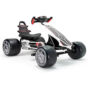 Licensed injusa mercedes go kart flecha white with adjustable seat