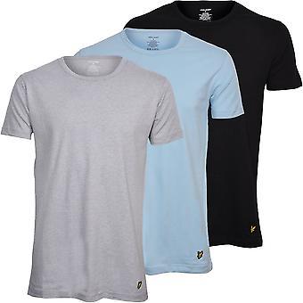 Lyle & Scott 3-Pack Crew-Neck Lounge T-skjorter, Svart/Grå/Blå