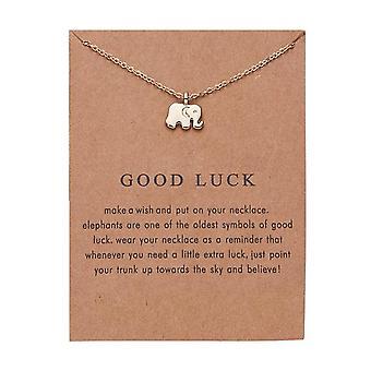 Held og lykke - halskæde med besked og elefant