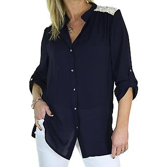 Women's V Neck Sequin Button Down Chiffon Shirt Ladies Smart Evening 3/4 Sleeve Blouse Top Navy Blue Size 8