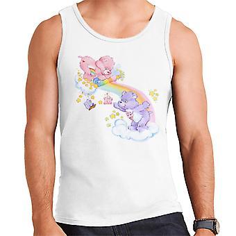 Care Bears Cheer Bear och dela Bear Unrolling A Rainbow Men & apos, s Vest