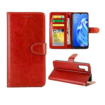 For OPPO A91/ F15(2020) Crazy Horse Texture Leather Horizontal Flip Protective Case with Holder & Card Slots & Wallet & Photo Frame(Brown)