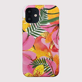 Eco Friendly Tryckt blommig gul iPhone 12 mini fall