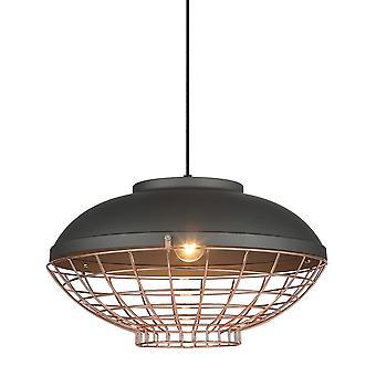 Industrieel en retro opknoping hanghanger grijs, koper 1 licht, E27