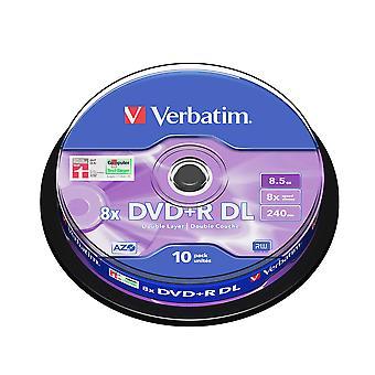 Verbatim 43666 8.5gb 8x double layer dvd+r matt silver - 10 pack spindle dvd+r dl single