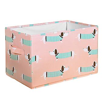 Sausage Dog Fabric Covered Collapsible Box Rose 3Pc Set 15X13X13