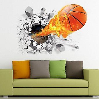 Autocollant 3d de mur de football de basket-ball