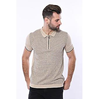Beige plaid zippered knitted polo t-shirt | wessi