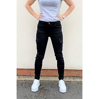 Womens Slim Skinny Stretch Cargo Pants