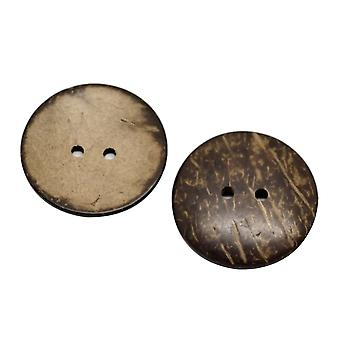100stk 2 huller runde syning Coconut Shell Knapper Craft Brown 25mm