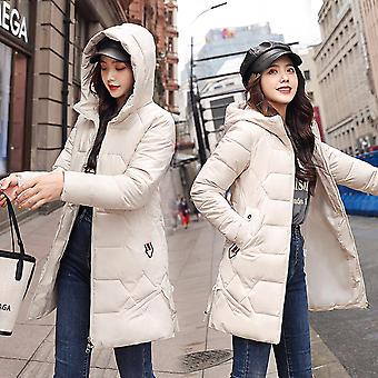 Female Winter Solid Thick Plus Size 4xl Hooded Cotton Padded Loose Jacket