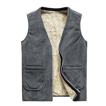Men' Sleeveless Vest Jackets, Winter Wool, Male Cotton-padded Coats, Warm