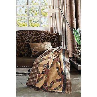 Spura Home Wedding Ring Brown Patchwork Quilted Throw Blanket sofa Bed