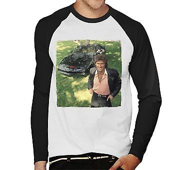 Knight Rider Michael Knight leende med KITT Men & apos; s Baseball Långärmad T-shirt