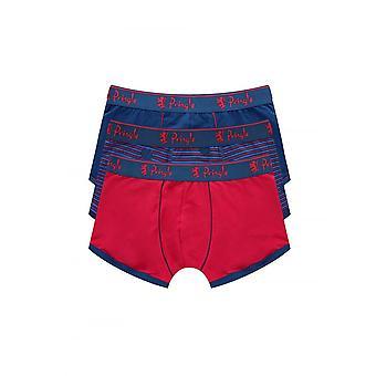 Pringle Of Scotland Pringle Mens 3 Pack Cotton Boxer Shorts Red/blue
