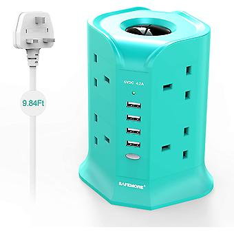 Tower Extension Lead Surge Protected with 8 Sockets, 4 USB Charger Slot