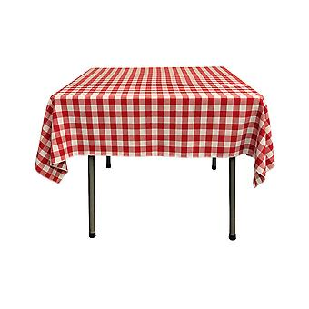 La Linen Polyester Gingham Checkered 58 By 58-Inch Square Tablecloth, White And Red