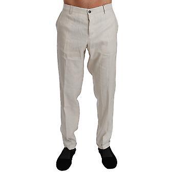 White Linen Casual Mens Trouser Flax Pants