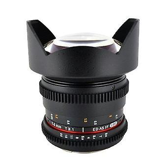 Rokinon cine cv14m-n 14mm t3.1 cine wide angle lens for nikon with de-clicked...