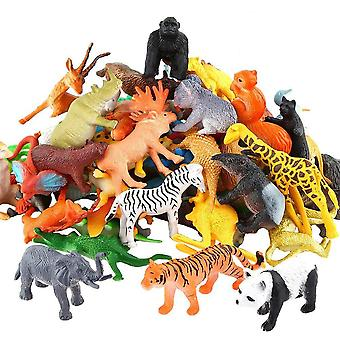 Set Of Mini Jungle Animal Toy Set Including Animals, Fences And Grasses