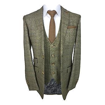 Men's Tweed Check Slim Fit Suit in Tan Brown