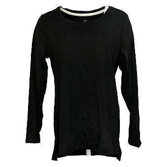 Isaac Mizrahi En direct! Women's Top Essentials Hi-Low Hem Knit Black A389762