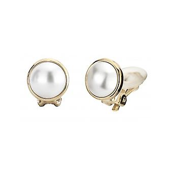 Traveller Pearl Clip Earrings  10mm White  Gold Plated - 113364 - 370