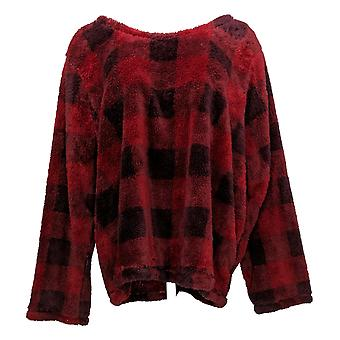Cuddl Duds Women's Pajama Top Petite Faux Sherpa Pullover Red A381787