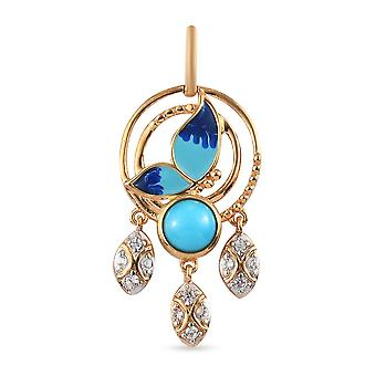 Sleeping Beauty Turquoise, Zircon Designer Pendant in Gold Plated Silver 1.09ct