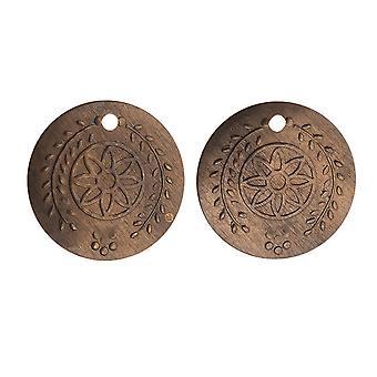 Vintaj Natural Brass, Botanical Coin Stamping Charms 23 Gauge 12.5mm, 2 Pieces
