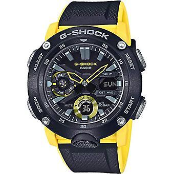 Casio G-SHOCK Montre 20 BAR, Jaune/Noir, Analogique - Numérique, Homme, avec Bracelet carbone, GA-2000-1A9ER