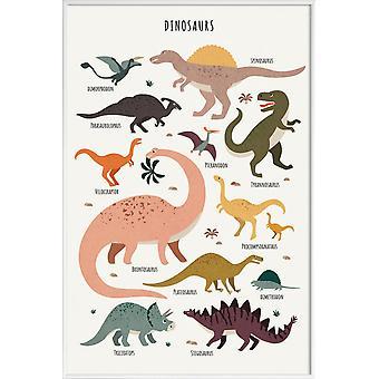 JUNIQE Print - Dinosaur Venner - Dinosaur Plakat i farverige