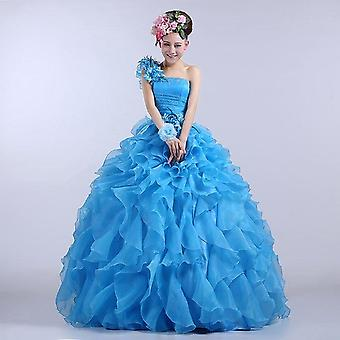 Colorful Organza A Line Beading Ruched One Shoulder Wedding Dress