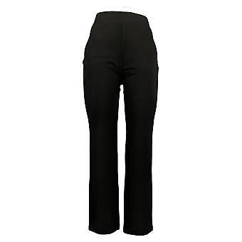 IMAN Global Chic Pantalones de Mujer 360 Slim Ponte Boot-Cut Negro 742319001