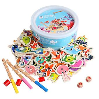 Træ magnetiske børn fiskeri legetøj sæt. Montessori Pædagogisk Udendørs Spil.