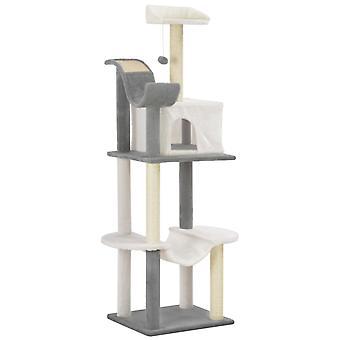 vidaXL Katzen-Kratzbaum mit Sisal-Kratzsäulen Grau und Weiß 155 cm