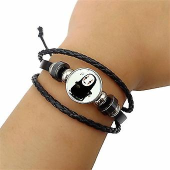New No Face Faceless Time Gem Bracelet Multi-layer Woven Black Leather Beaded Wristband ES2563