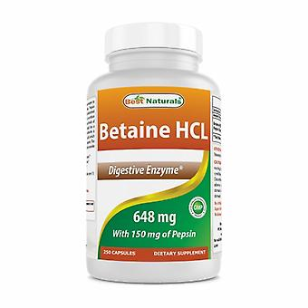 Best Naturals Betaine HCL, 648 mg, 250 Caps