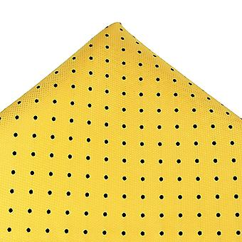 Solmiot Planet Gold Label Yellow & Black Polka Dot Silk Pocket Square Nenäliina